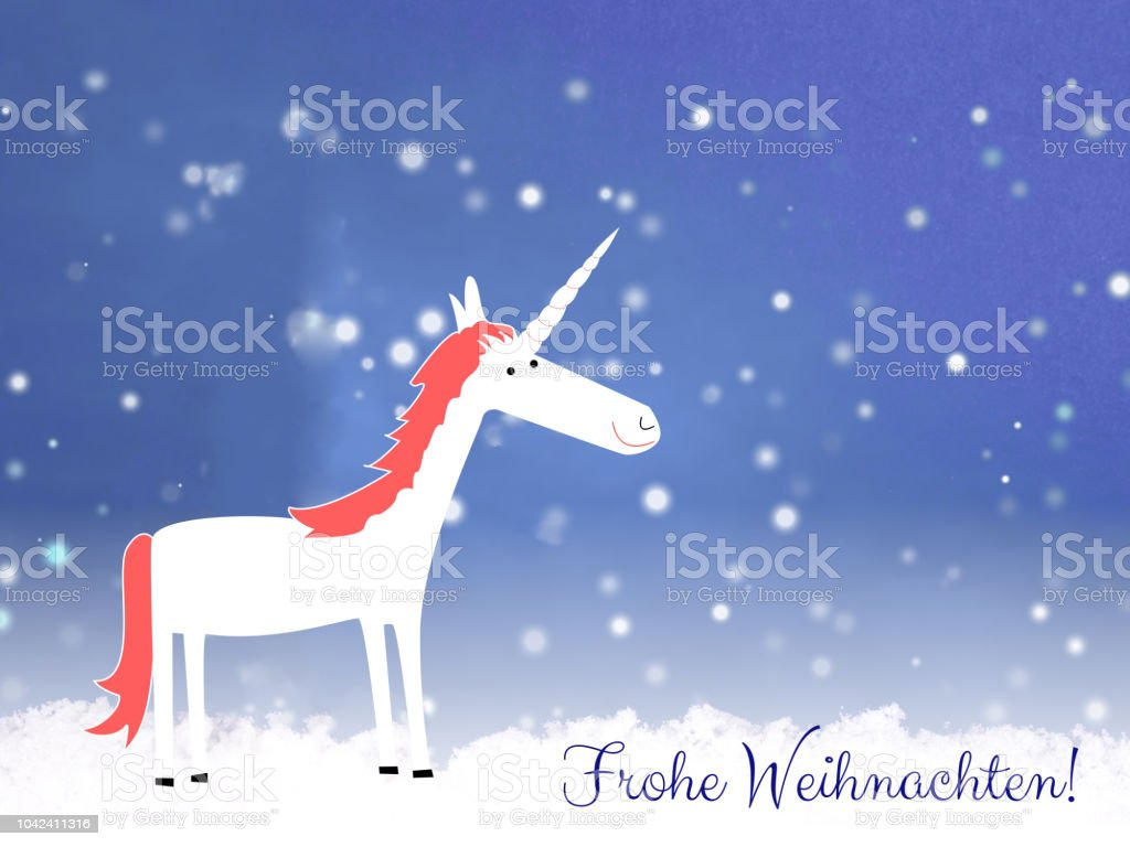How Do You Say Merry Christmas In German.Merry Christmas In German Language With Cute Unicorn Stock