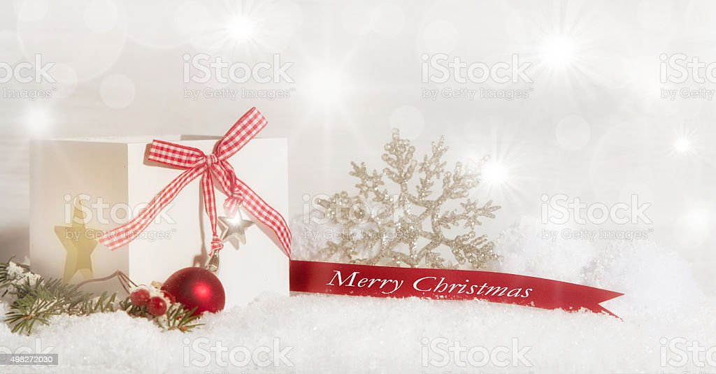 Merry Christmas, in red and white decorated stock photo