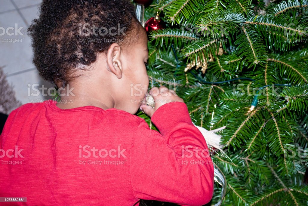 Christmas Kiss 2.Merry Christmas Kiss Young Child Decorating A Christmas Tree