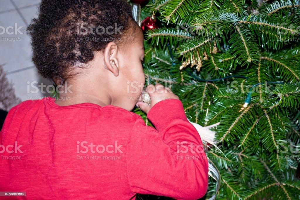 A Christmas Kiss 2.Merry Christmas Kiss Young Child Decorating A Christmas Tree