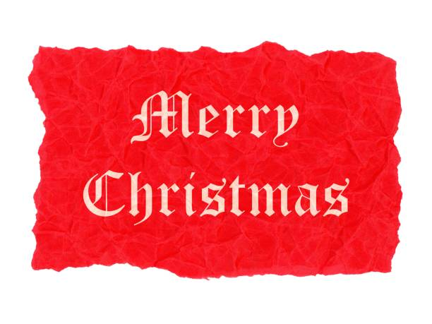 Merry Christmas label Merry Christmas label on red creased paper parchment 2020 2029 stock pictures, royalty-free photos & images