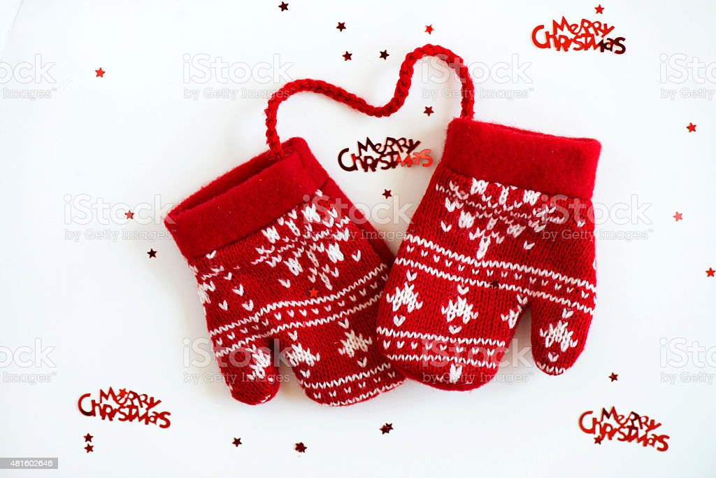 Merry Christmas Letter T.Merry Christmas Letters And Red Knitted Mittens With