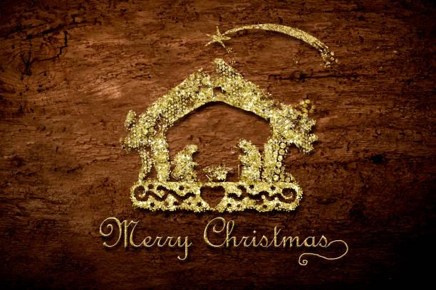 Merry Christmas Nativity Scene Card Stock Photo