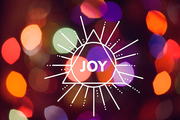 Merry Christmas New Year Triangle Label Joy Bokeh Stock
