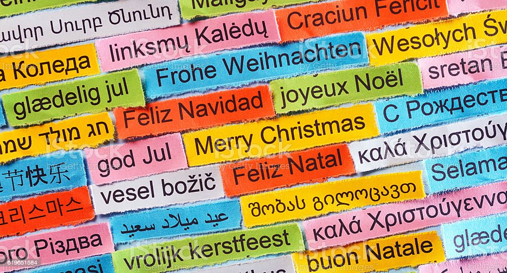 Merry Christmas  on  different languages stock photo