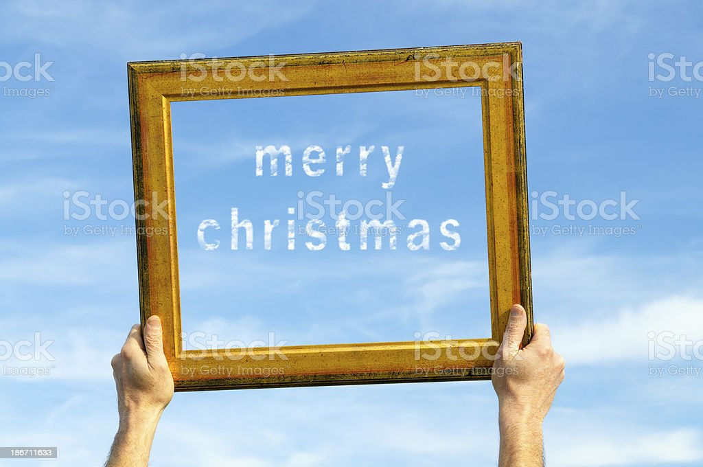 Merry Christmas on Frame Blue Sky royalty-free stock photo