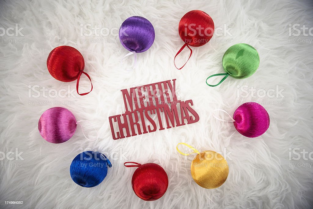 Merry Christmas one word background with baubles ornament royalty-free stock photo