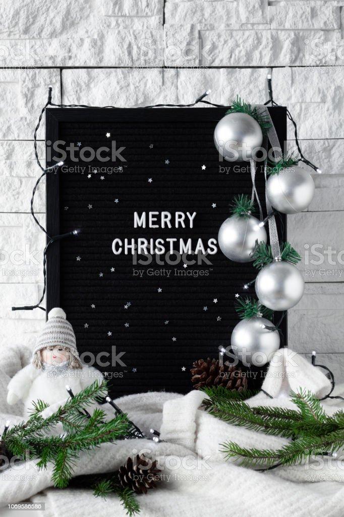 Feliz Frase De Navidad Hecho Con Decoraciones De Invierno