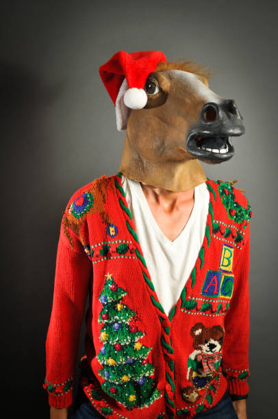 merry christmas - ugly sweater stock pictures, royalty-free photos & images