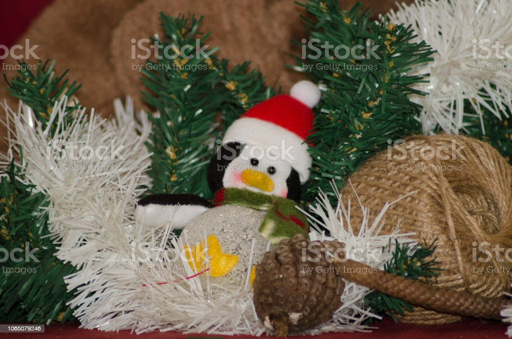 merry christmas postcard design with teddy bear and gift box red