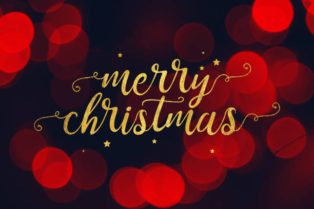 메리 크리스마스 스크립트와 빨간 Bokeh 빛 배경 별 스톡 사진