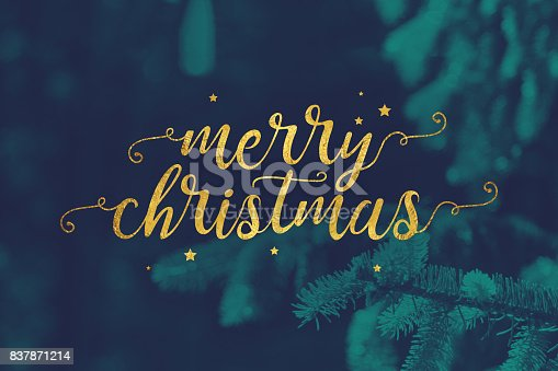 istock Merry Christmas Script with Evergreen Branches Background 837871214