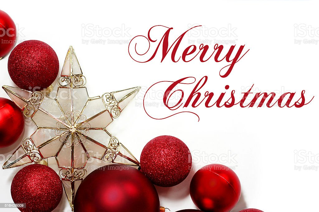 Merry Christmas Sign with Ornaments Border stock photo