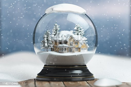 Merry christmas snow globe with a house on snowfall winter background. 3d illustration