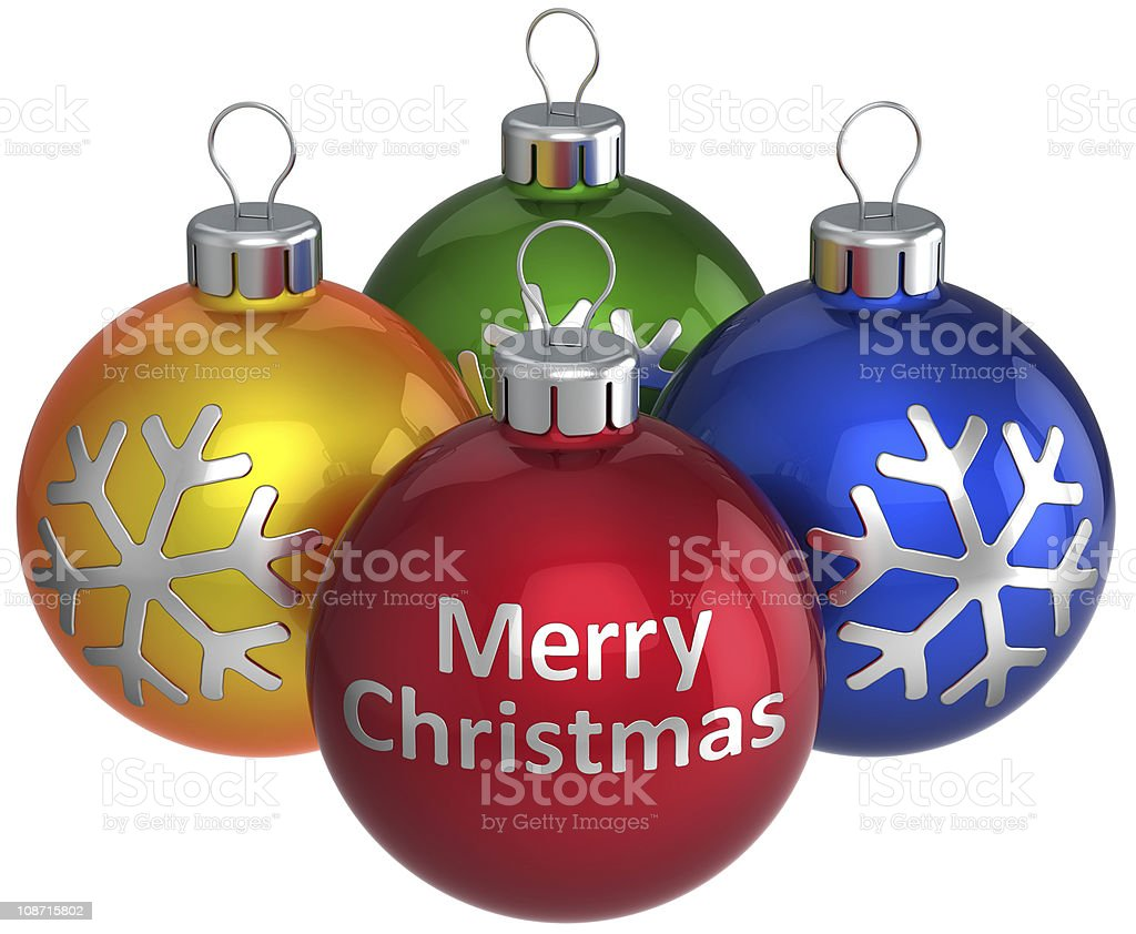 Merry Christmas text on Xmas balls baubles royalty-free stock photo