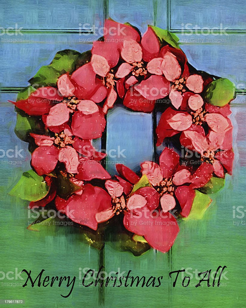 Merry Christmas To All Door Wreath royalty-free stock photo