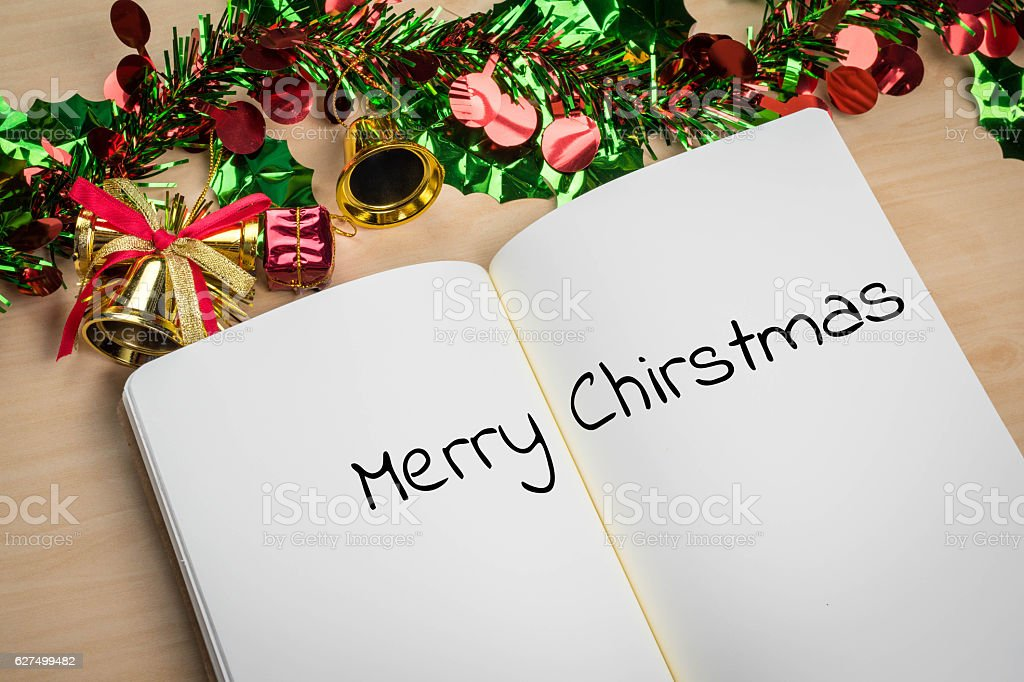 merry christmas word in note book stock photo