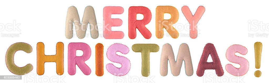 Merry christmas. Words isolated on white background. stock photo