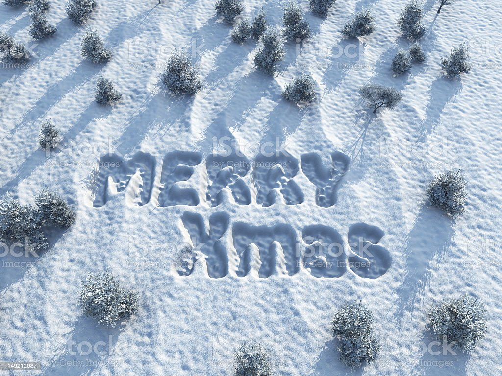 Merry Christmas,  words on snow royalty-free stock photo