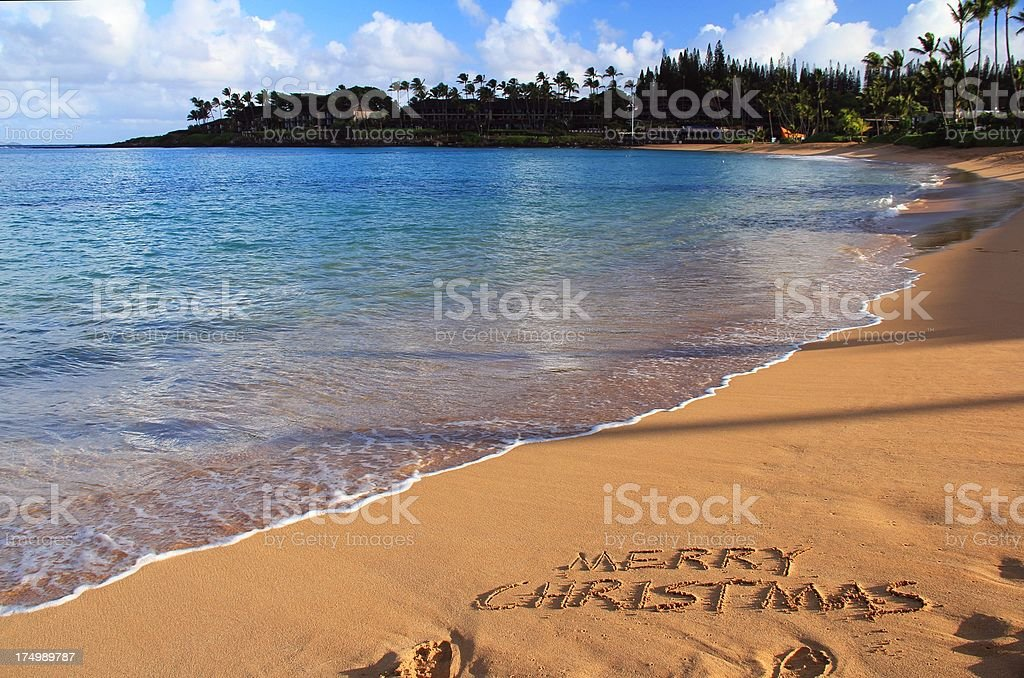 merry christmas written on maui hawaii beach sand royalty free stock photo - Merry Christmas In Hawaii