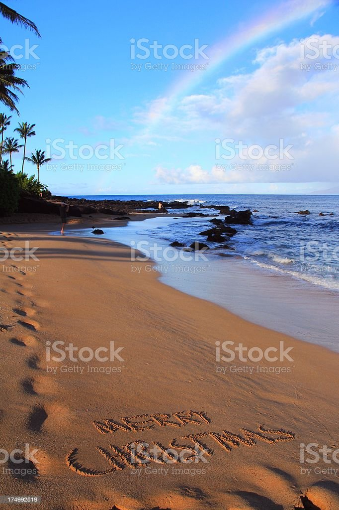 Hawaii Christmas.Merry Christmas Written On Maui Hawaii Beach Sand With