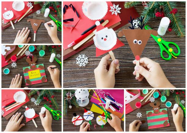lustige geschenk collage. handgefertigt. projekt von der kreativität der kinder, basteln, basteln für kinder. - winterdeko basteln stock-fotos und bilder