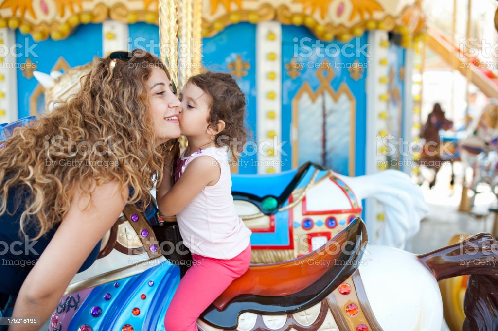 Merry Go Round and Little Girl royalty-free stock photo