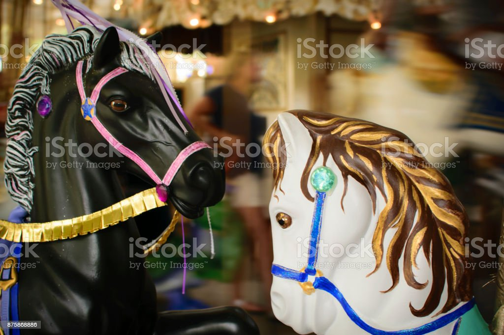 Merry Go Round Black And White Horses From The Olden Days Stock Photo Download Image Now Istock