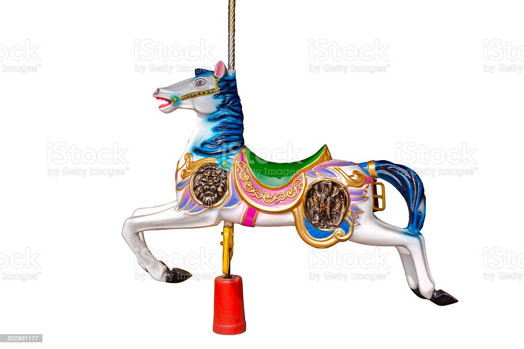 merry go round horse stock photo