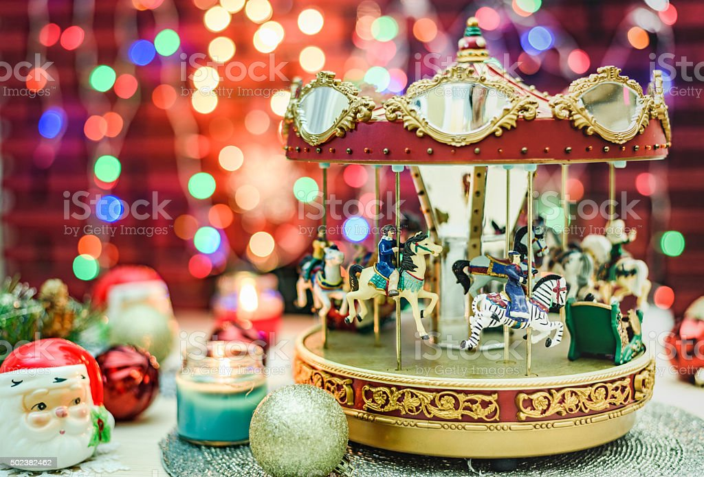 Merry Go Round music box and Santa Claus Decoration stock photo