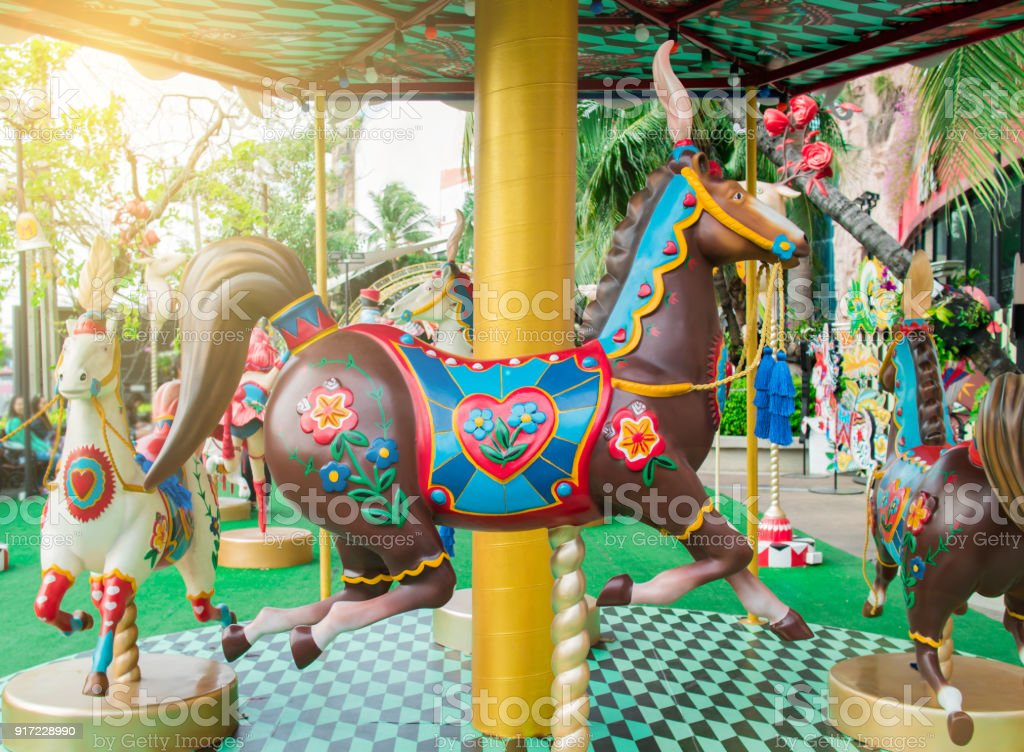 Merry Go Round Or Carousel Horse In Circus Festival Stock Photo Download Image Now Istock