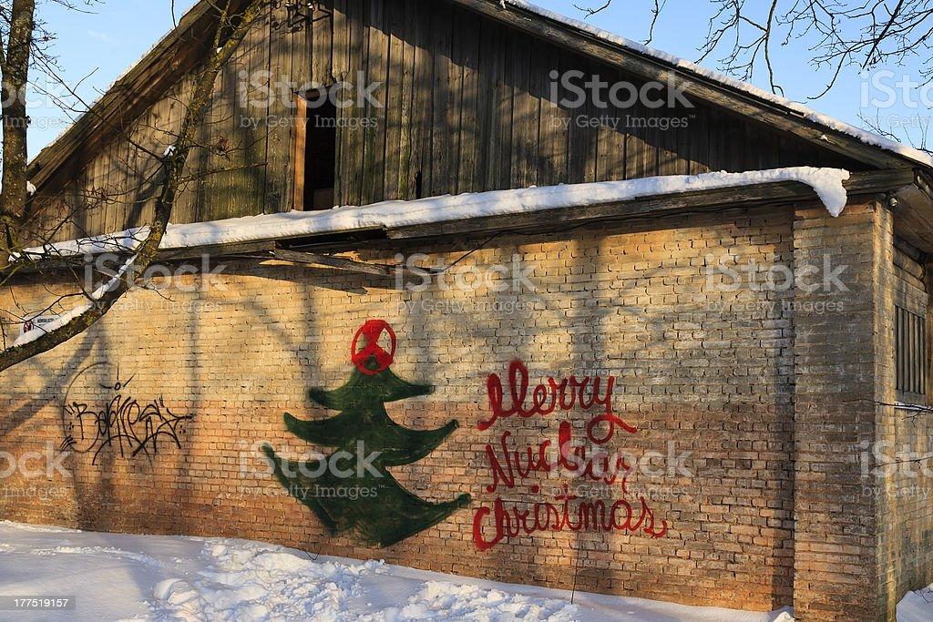 Merry Nuclear Christmas in Paldiski, Estonia royalty-free stock photo