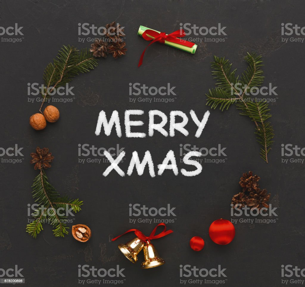 Merry xmas greeting, decoration background stock photo