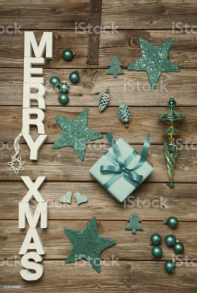 Merry Xmas Greetings Of Wooden Letters Blue Christmas Decoration