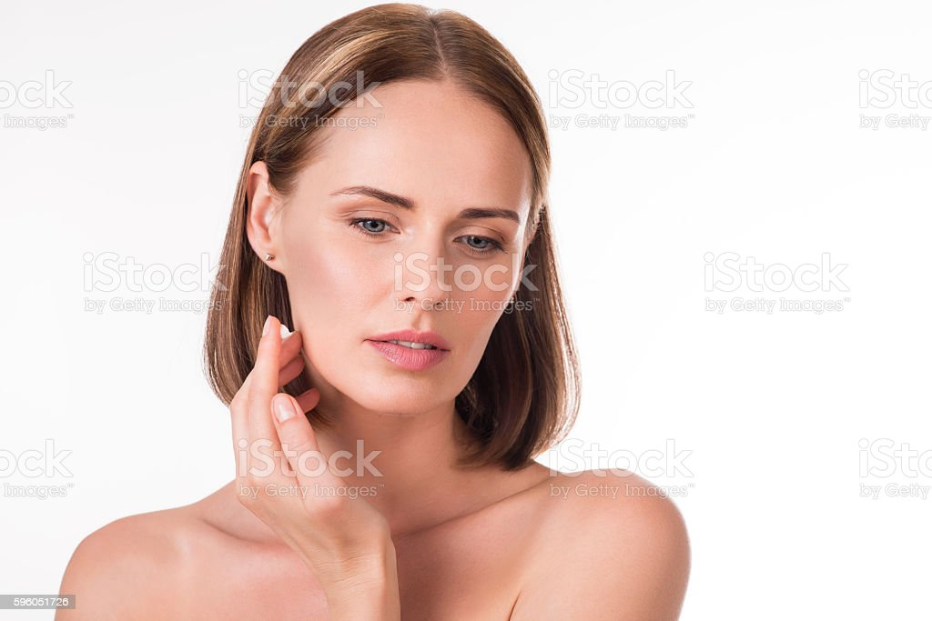 Merry young woman posing for photo royalty-free stock photo