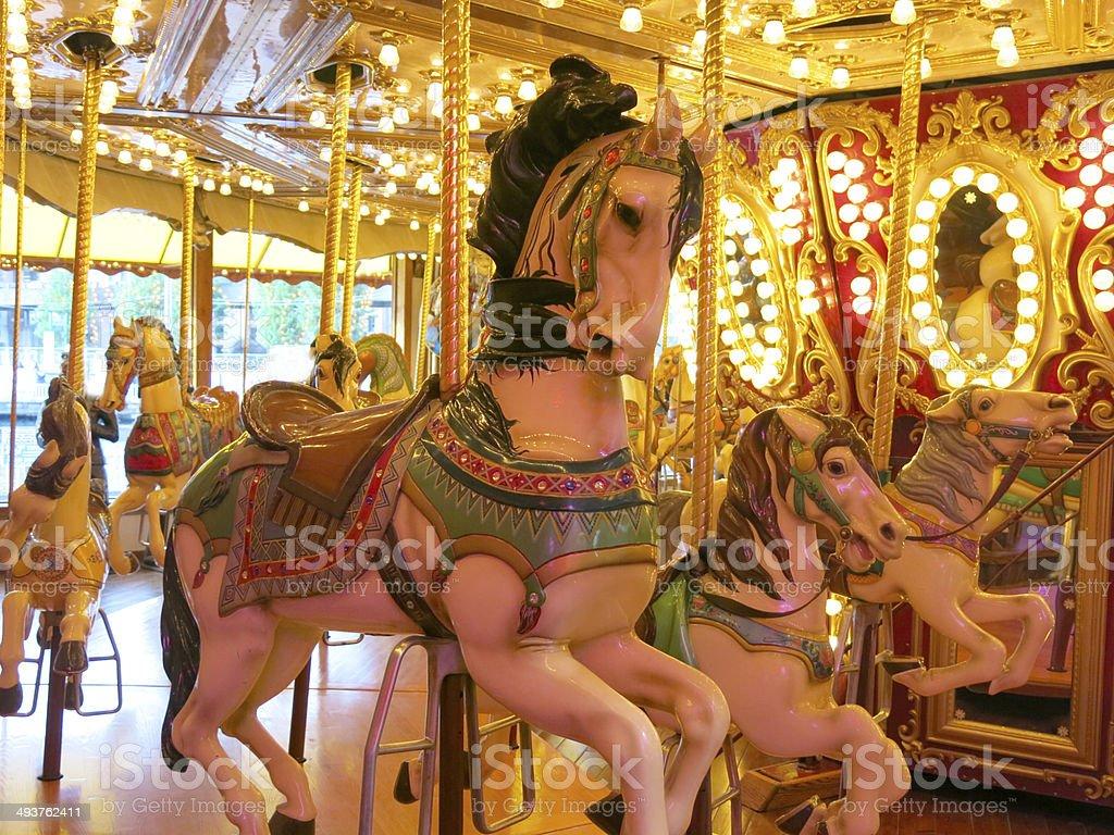 Merry-go-round horse ride stock photo