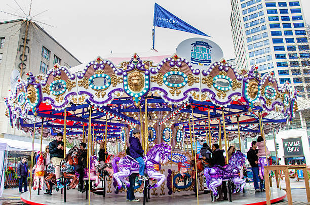Merry-Go-Round in Seattle stock photo