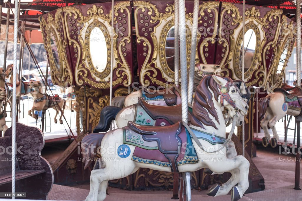 Merrygoround Wooden Horses Ride A Carousel Abandoned Amusement Park Seoul Korea Stock Photo Download Image Now Istock