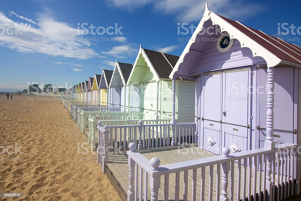 mersea beach huts stock photo