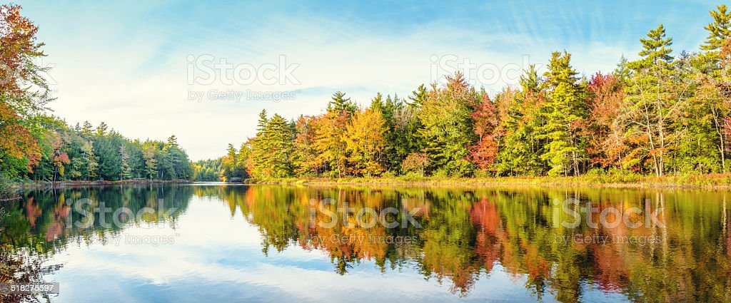 Mersey river in fall stock photo