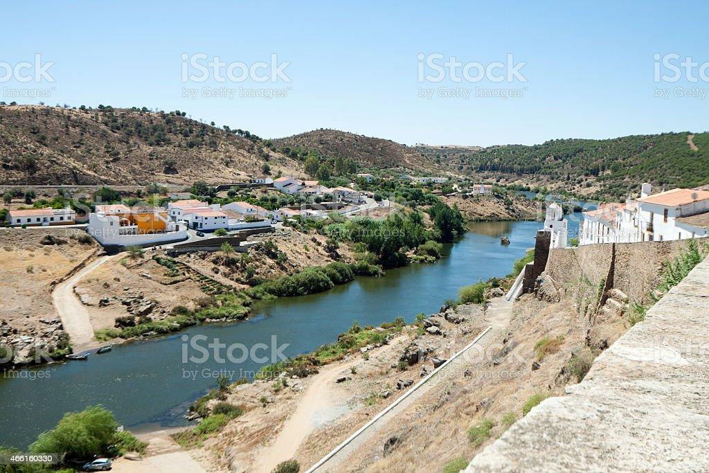 Mertola and Guadiana River stok fotoğrafı