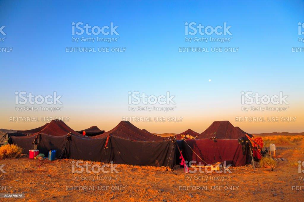 Merzouga desert landscape with its traditional jaima. stock photo