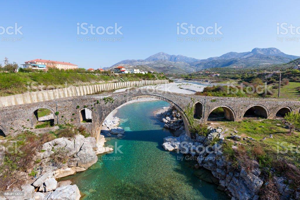Mes Bridge, Shkoder, Albania. stock photo