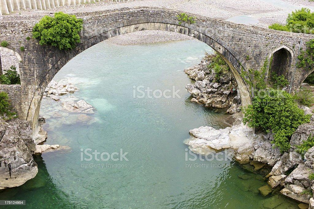 Mes ottoman bridge, Albania stock photo