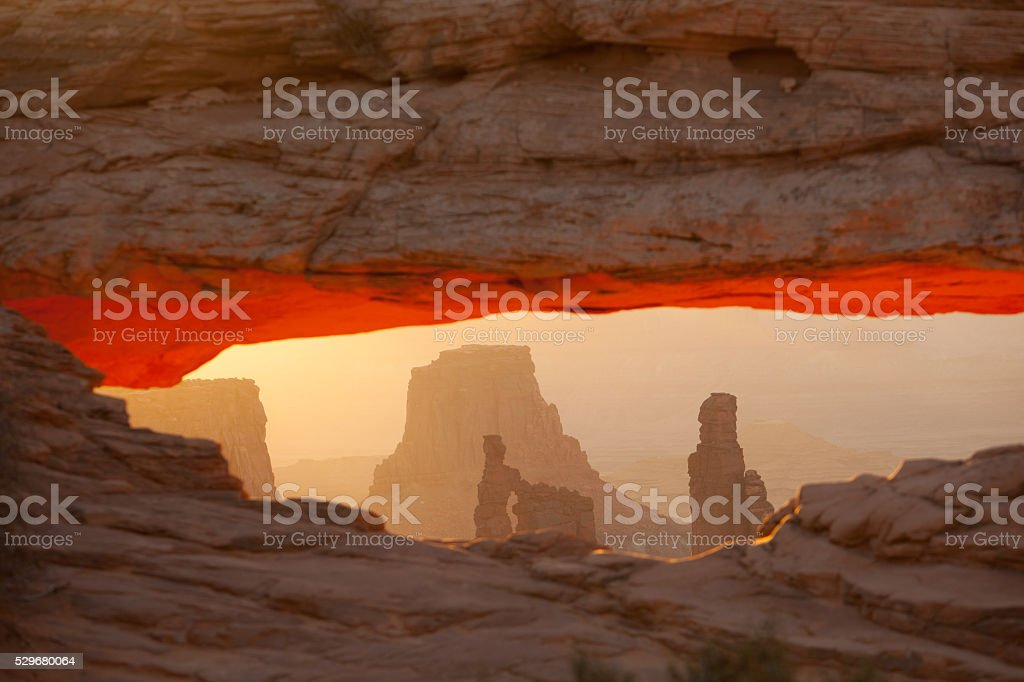 Mesa Arch at Sunrise in Canyonlands National Park. stock photo