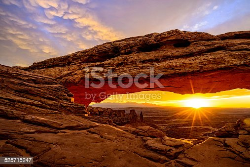 Mesa Arch at Sunrise - Scenic landscape in Canyonlands National Park, Utah USA.