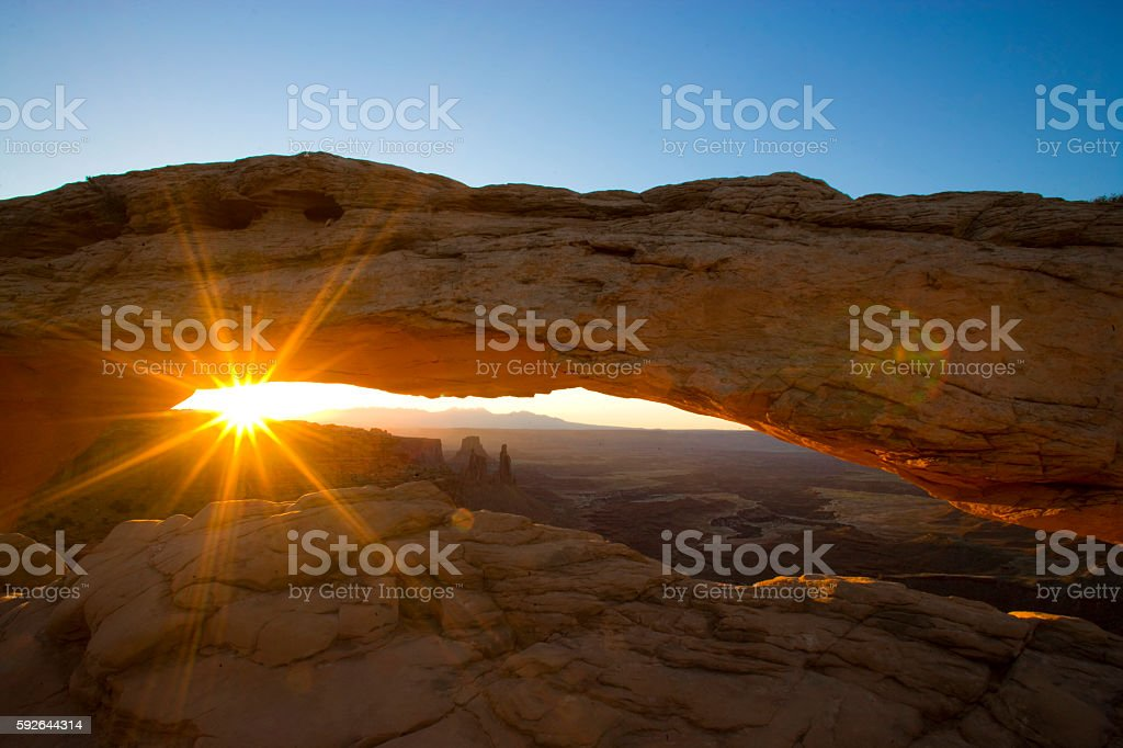 Mesa Arch at Sunrise (June) stock photo