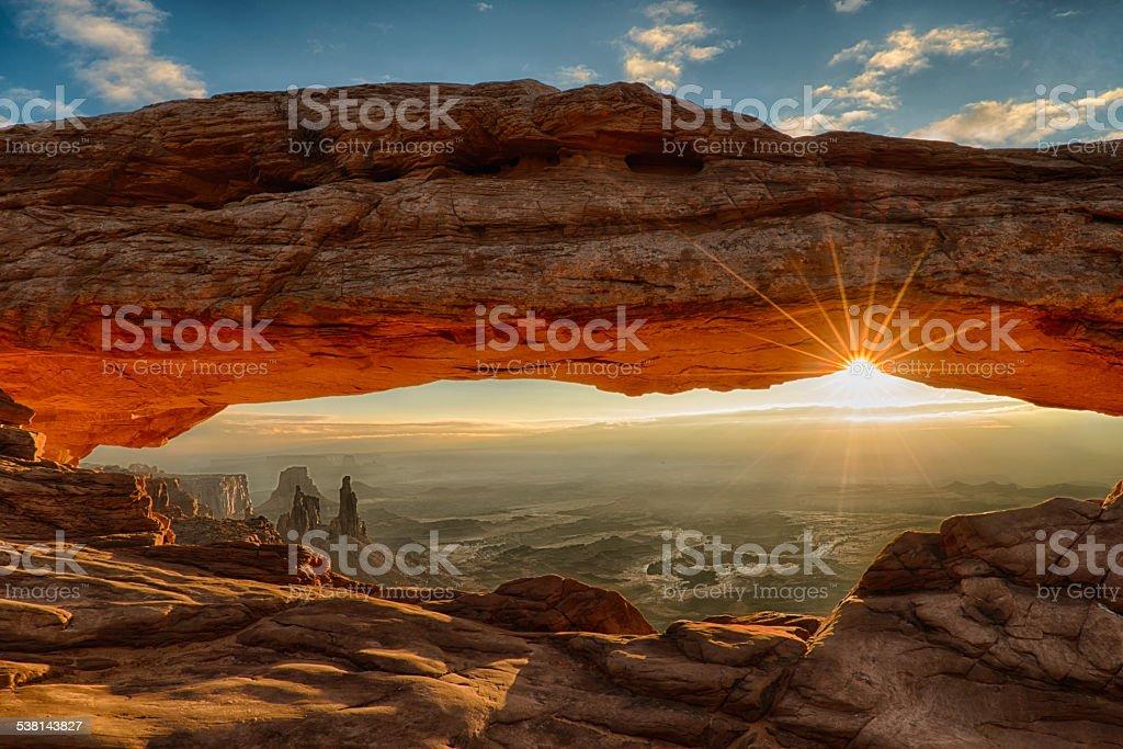 Mesa Arch Dawn Sunburst stock photo