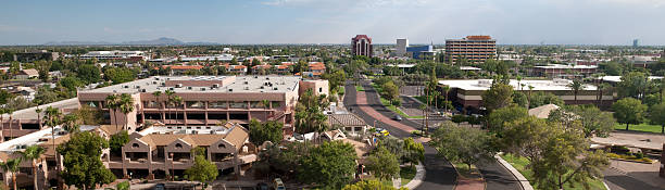 Mesa, Arizona downtown panorama stock photo