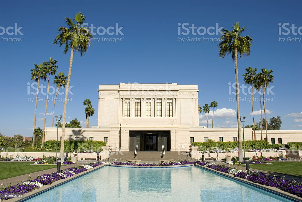 Mesa Arizona Temple with Reflection Pond and Blue Skies royalty-free stock photo